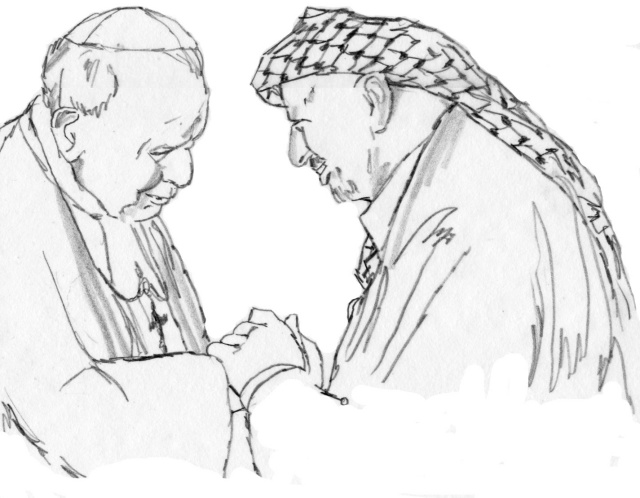 Pope and Arafat Drawing